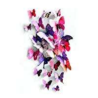SODIAL 3D Butterfly Sticker Art Design Decal Wall Stickers Home Decor Room Decorations Plum red