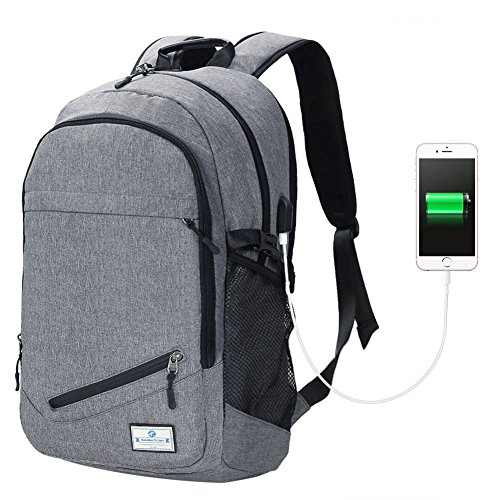 01 Electronic (Koolertron 15.6 inch Laptop Charging Backpack with USB Port for Charging Electronic Devices (Grey / 01))