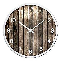 Wall Clock Retro Nostalgic Wood Color Clock Imitation Wood Clock Mute Wall Hanging Table Living Room Bedroom 14 inches White pin White Frame