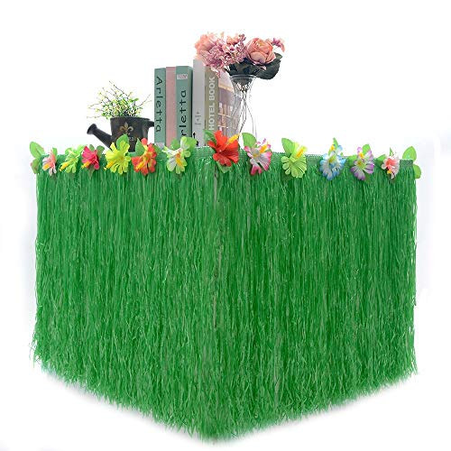 Hawaiian Table Skirt 9ft Luau Hibiscus Grass larger Flower Tablecloth for Party Decoration, Events, Birthdays, Celebration (1 Pack) (Upscale Larger Flower Army Green)