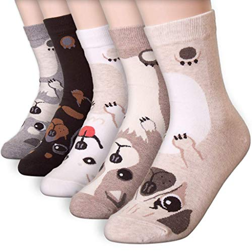 Womens Casual Socks-Cute Crazy Lovely Animal Cats Good for Gift One Size Fits All,5 Dogs,One Size ()
