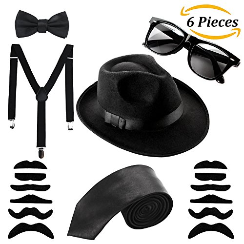 Aneco 6 Pack 1920s Set Fedora Gangster Hat Costume Accessory Sunglasses  Suspenders Bow Skinny Tie (Black) - 43220-63564   Accessory Sets    Clothing 489b3e842fe1