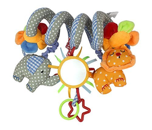 Cute Baby Toy Newborn Rattles Stroller Car Bed Hanging Educational Plush Toys-Lion, Elephanet and Flower pattern (Baby Cry Bridge)