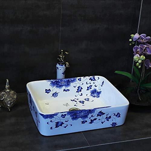 (ERGOUZI Bathroom Basin Blue White Wash Basin Ceramic Chinese Art Antique Round Design 5 only Sink)
