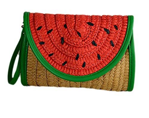 Watermelon Fruit Women's Straw Plaited Article Handbag -