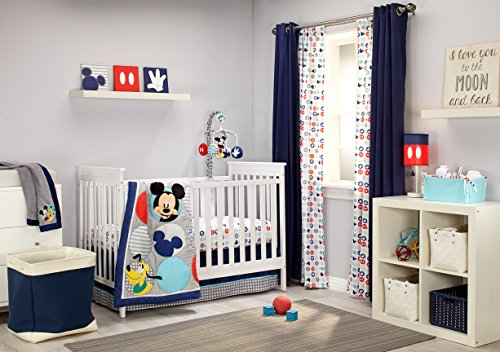 Disney newborn Mickey Mouse fantastic Buddies 4 Piece Nursery Crib Bedding Set, Multi
