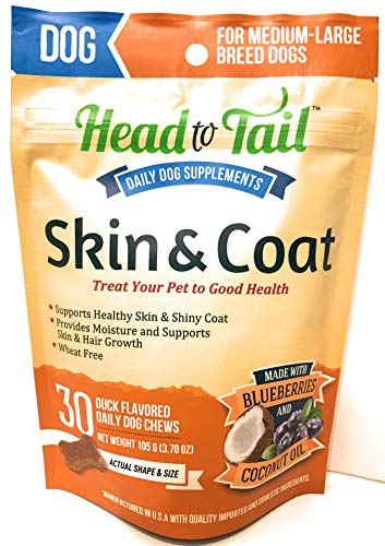 - Head to Tail, Skin & Coat Daily Chews, Made with Blueberries & Coconut Oil, Medium-Large Breed Dogs, Wheat Free, 30 Chew Packet