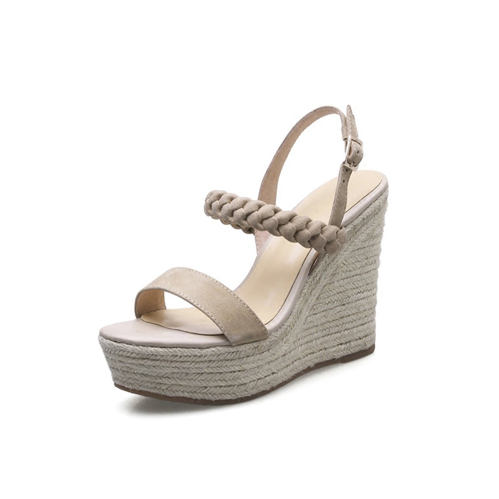 QINGTAOSHOP Ms./Wedge Sandals Straw Dew Thick Toe Plataformas Super High Heels (Color : Brown, Size : 38) 38|Brown