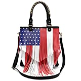 American Flag Stars and Stripes Fringe Cross Body Handbags Western Tote Purse Women Single Shoulder Bag (Black)