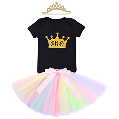 Baby Girl 1st Birthday Unicorn Romper Rainbow Tutu Dress Photo Outfit Costume