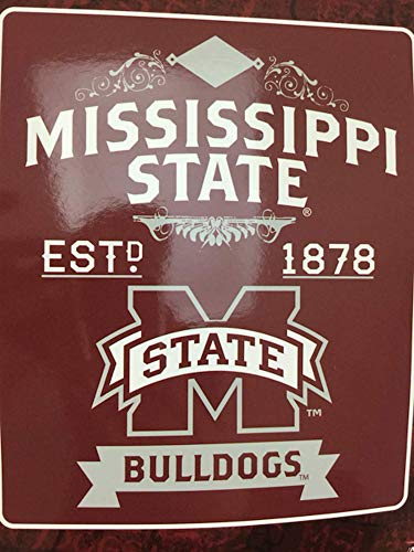 "Officially Licensed NCAA Mississippi State Bulldogs Label Plush Raschel Throw Blanket, 50"" x 60"""