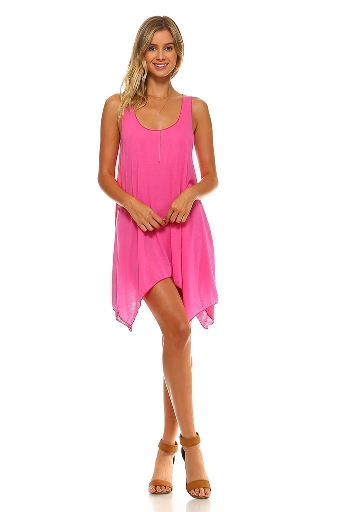 Simplicitie Women's Sleeveless Swing Flare Dress Tunic Tank Top - Regular and Plus Size - Fuchsia - Made in USA