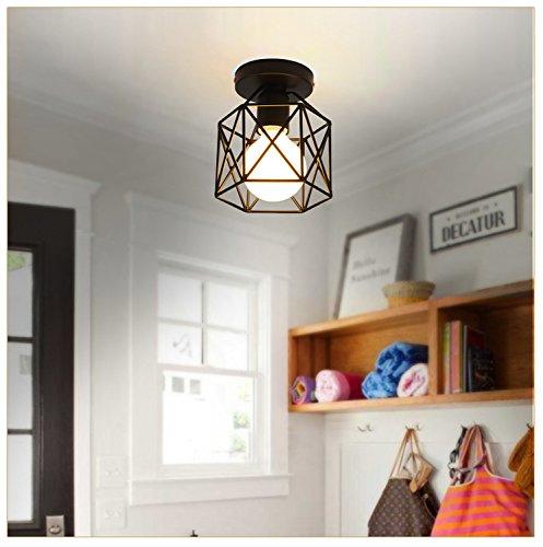 AZX Moda pequeño Negro Metal Jaula lámpara de Techo Vintage Edison ...