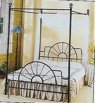 Black Wrought Iron Canopy Bed (World Imports Wrought Iron Sunburst Design Canopy Bed (Full Size))