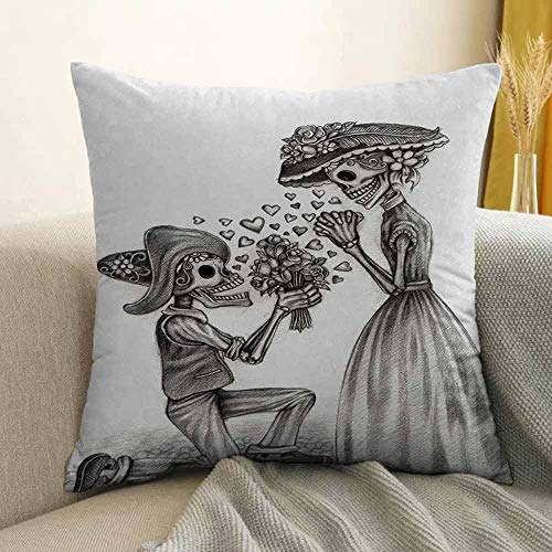 FreeKite Day of The Dead Pillowcase Hug Pillowcase Cushion Pillow Mariage Proposal Till Life Do us Apart Dead Day Festive Art Print Anti-Wrinkle Fading Anti-fouling W16 x L16 Inch Dimgrey and White ()