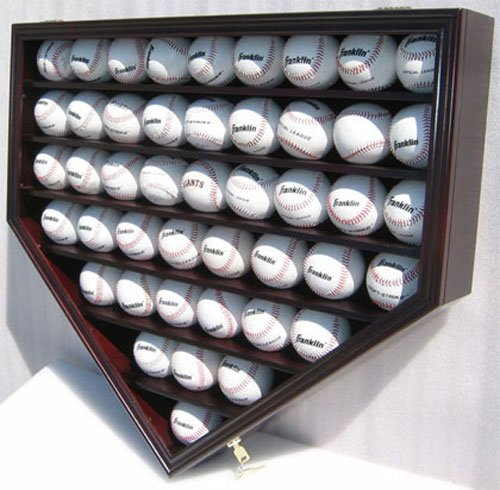 (46 Baseball Display Case Wall Cabinet Holder Shadow Box, UV protection (Mahogany Finish))