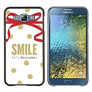 KLONGSHOP // Cubierta de piel con cierre a presión Shell trasero duro de goma Protección Caso - Diciembre Navidad oro blanco - Samsung Galaxy E7 E700 //