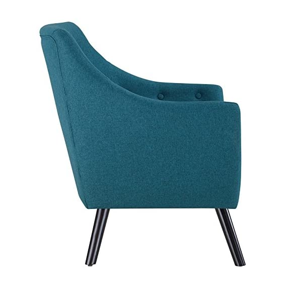 Modway Allegory Mid-Century Modern Upholstered Fabric Accent Arm Chair in Teal - MID-CENTURY MODERN ARMCHAIR - Showcasing a warm contemporary look, Allegory displays timeless appeal and modern sophistication. Enhance your living room decor with this versatile mid-century armchair LOUNGE SPOT - Make a statement in the den, recreation area, home office, family room, or apartment with an inviting modern armchair with flared arms. Delve deep in both comfort and conversation INVITING DESIGN - Upholstered in quality polyester, Allegory boasts densely padded foam cushions, fine stitching and an array of classic tufted buttons that heighten your space with organic appeal - living-room-furniture, living-room, accent-chairs - 510pbiSWo L. SS570  -