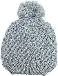 Womens Metallic Knit Pom Beanie Grey