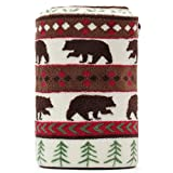 Black Bear and Pine trees Pattern White Background Soft Lightweight Coral Fleece 230GSM Blanket Throw 50 X 60