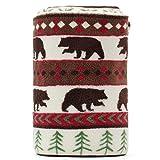 "COSMOZ Canada Bear Green Pine Pattern White Background Soft Lightweight Coral Fleece 230GSM Blanket Throw 50"" x 60"""