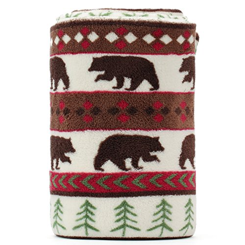 KEMUSI Blanket Throw Brown Bear and Pine Trees Pattern White Background Soft Lightweight Coral Fleece 230GSM for Baby 50 X - Baby Fleece Patterns