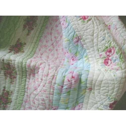New King Quilt Only Shabby Patchwork Beach Cottage Chic Vintage Pink Roses free shipping