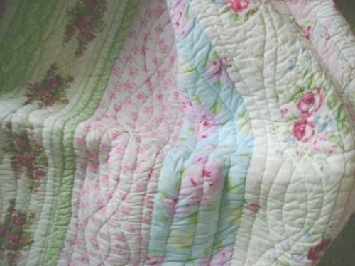 King Quilt Only Shabby Patchwork Beach Cottage Chic Vintage Pink Roses (Cottage Rose Newport)