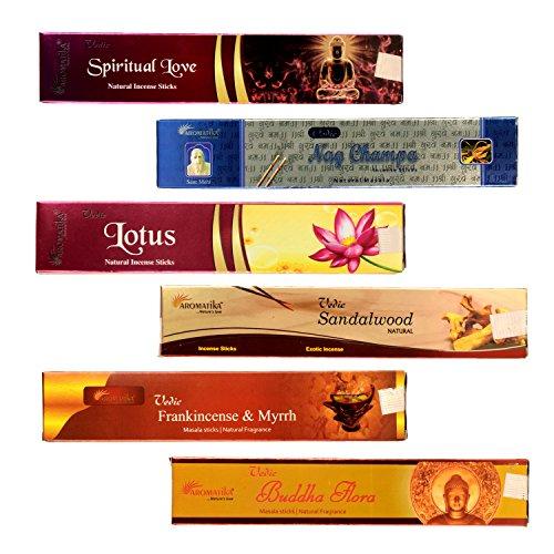 Aromatika® Vedic 6 Assorted Natural Masala Incense Sticks Nag Champa, Sandalwood, Buddha Flora, Lotus, Frankincense & Myrrh, Spiritual Love Combo 'A'