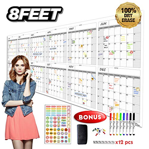 Large Reusable Dry Erase Wall Calendar - 36x96 2019-2020 Undated Yearly Planner for Home, Office, School Projects - Jumbo Laminated Task Organizer