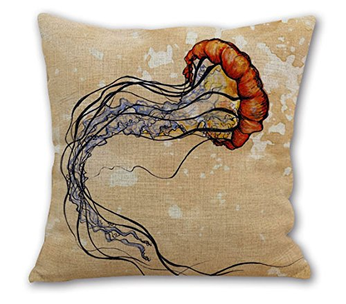 OneMtoss20Inches Cotton Square Cushion Jellyfish