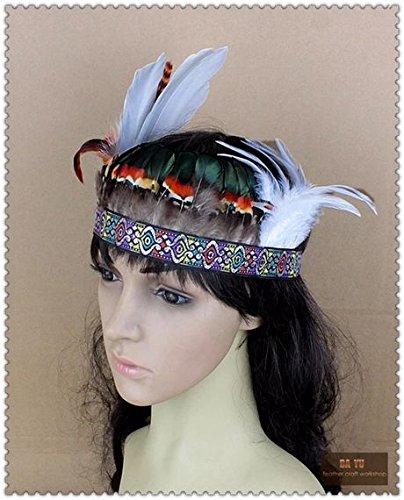 [Handmade Indian Feather Fascinator Headband] (Hollywood Themed Costumes Women)