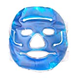 Hot Cold Therapy Ice Mask – Reusable Gel Bead Full Facial Eye Mask, Flexible Non-Toxic Hot Cold Compress for Migraine Headache, Puffy Eyes, Swollen Face, Stress Relief, Dark Circles, Fabric Back, Free