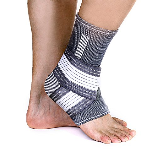 Ankle Brace – Ankle Support with Adjustable Compression Wrap for Men and Women, Running Basketball Protects Against Chronic Ankle Strain, Sprains Fatigue (L-(Single 15″-17″))