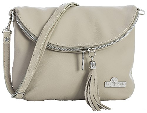 LIATALIA Real Italian Soft Leather Messenger Cross Body Shoulder Bag Mini/Small Size - AMY Beige