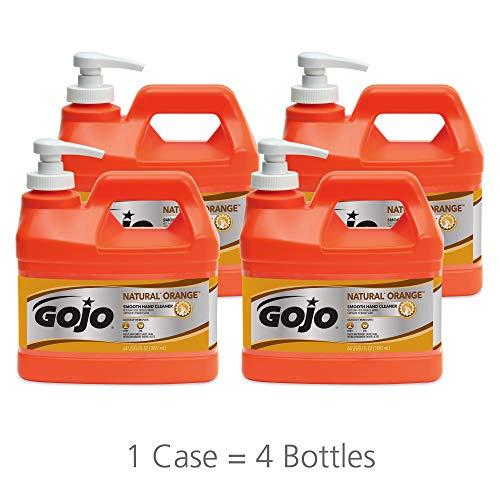 GOJO NATURAL ORANGE Smooth Lotion Hand Cleaner, Natural Citrus Scent, 1/2 Gallon Quick-Acting Lotion Cleaner Pump Bottle (Case of 4) - - Bonded Abrasive Abrasives