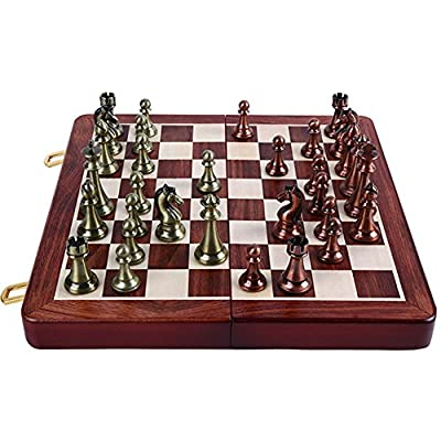 Boliduo International Chess Set with Metal Pieces and Folding Wooden Chess Board for Kids, Adults Chess Board Game
