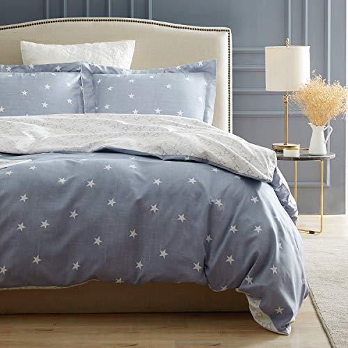 Top Finel Bedding 3-Piece Queen Duvet Cover Set Grayish Blue Comforter Cover with 2 Pillow Shams with Zipper Closure Ultra Soft Microfiber