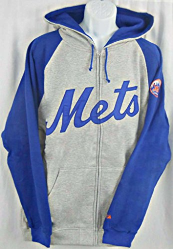 Majestic New York Mets Full Zip Embroidered Hoodie Sweatshirt Big & Tall Sizes (4XT)