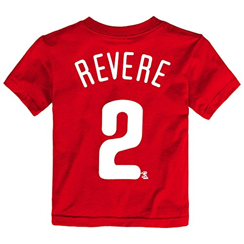 Outerstuff Ben Revere MLB Philadelphia Phillies Player Jersey Red T-Shirt Toddler (2T-4T) ()