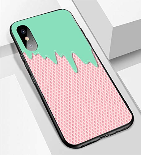 iPhone X/XS Ultra-Thin Phone case Sweet Lemon Mint Cream Flavor ice Cream Texture Layer Melted on Strawberry Wafer Texture Background Pattern wa Anti-Drop Anti-Slip Soft Convenient Protective Shell