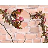 Whitelotous 2pcs 7.2 Feet Artificial Silk Rose Flower Ivy Vine Leaf Garland Wedding Party Home Decor (Dark Pink)