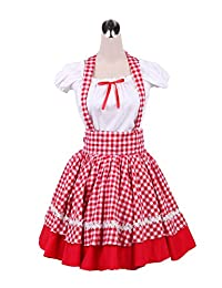 antaina Red Plaid Cotton Sweet Victorian Pleated Student Lolita Cosplay Dress