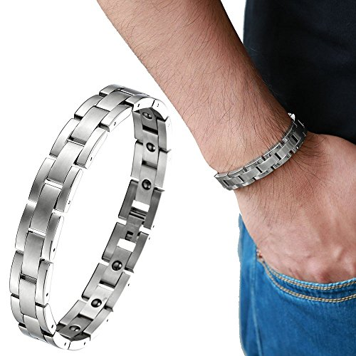 Timeless Stainless Steel Magnetic Link Bracelet for Men with Strong Magnets, Free Link Removal Tool