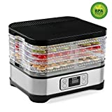 Razorri DDA250 Food Dehydrator Machine, 5-Layer Stackable & Height Adjustable Countertop Snack Maker Food Dryer with Quick Heating Circulation System and Hassle-Free Control for Food Preservation