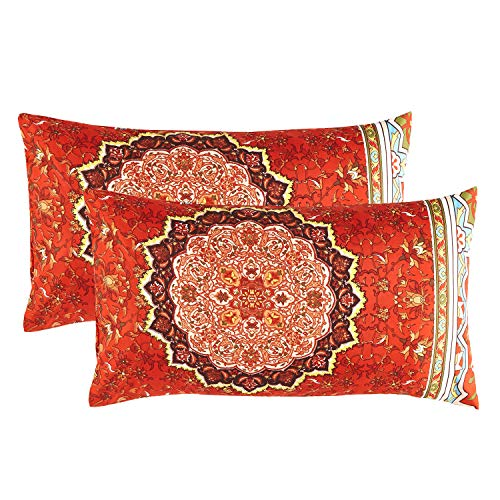 (Wake In Cloud - Pack of 2 Pillow Cases, Bohemian Boho Chic Mandala Medallion Printed Soft Microfiber Pillowcases (2pcs, King Size, 20x36 Inches))