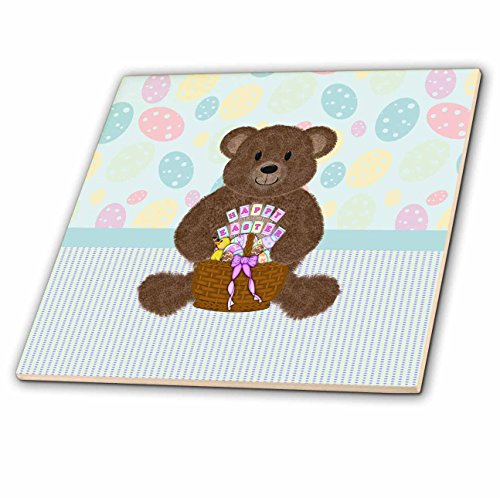 Beverly Turner Easter Design and Photography - Brown Bear Sitting with Easter Basket, Happy Easter. Egg Wallpaper - 8 Inch Glass Tile (ct_239560_7)