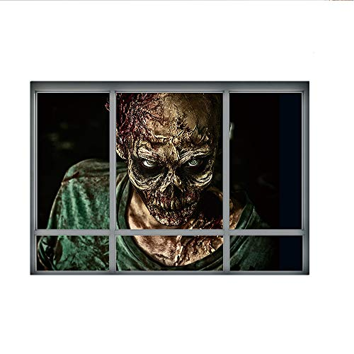 Lucky Shop1234 3D Halloween Horror Wall Decor Vivid Ghost Crawling The Window Fake Window Wall Sticker Decal Removable Home Decoration Art Mural Wallpaper (Horrible Ghost)