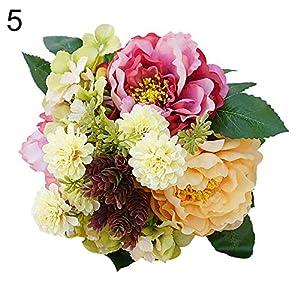 Connoworld-1Bouquet Artificial Hydrangea Peony Fake Garden Plant Flower DIY Home Decor - Champagne 4