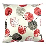 Cushion Case Pillow Cover Square 20x20 Inch Cotton Red Grey Leaves